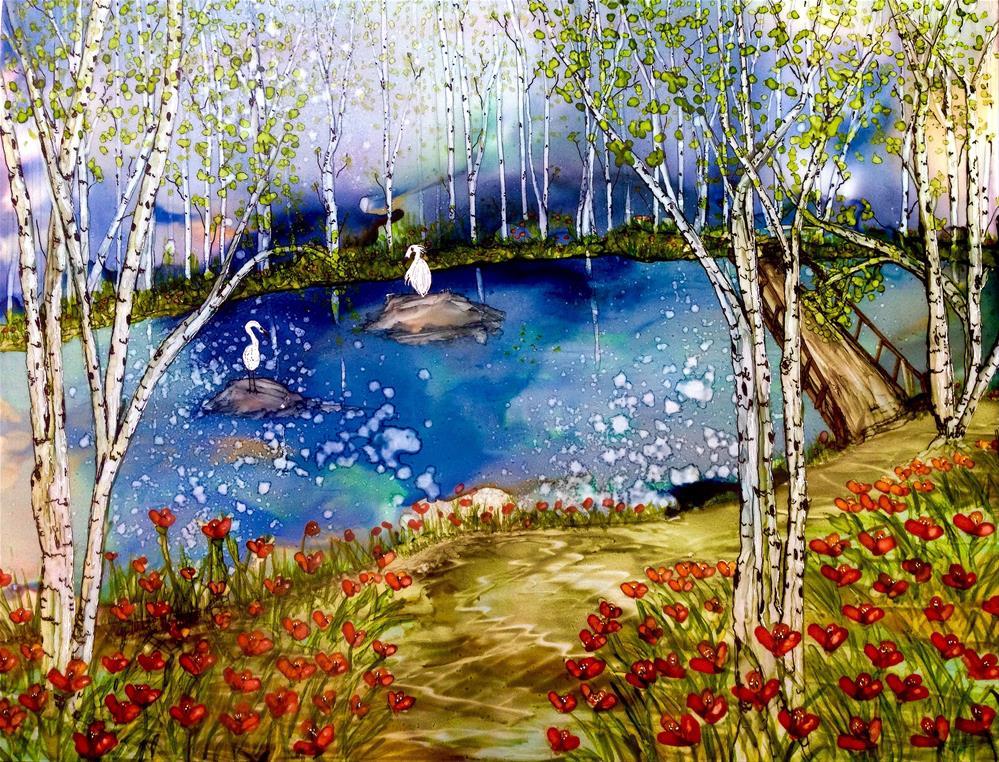 """Alcohol ink art.  Birch Lake."" original fine art by Korinne Carpino"