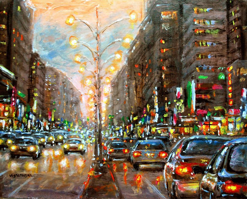 """New York in night9"" original fine art by vishalandra dakur"