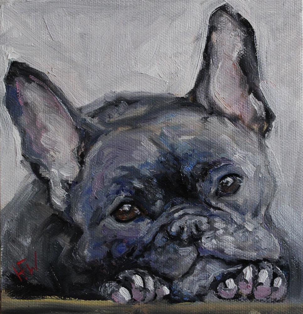 """Brindle Frenchie"" original fine art by H.F. Wallen"