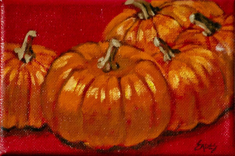 """Pumpkin Pile"" original fine art by Linda Eades Blackburn"