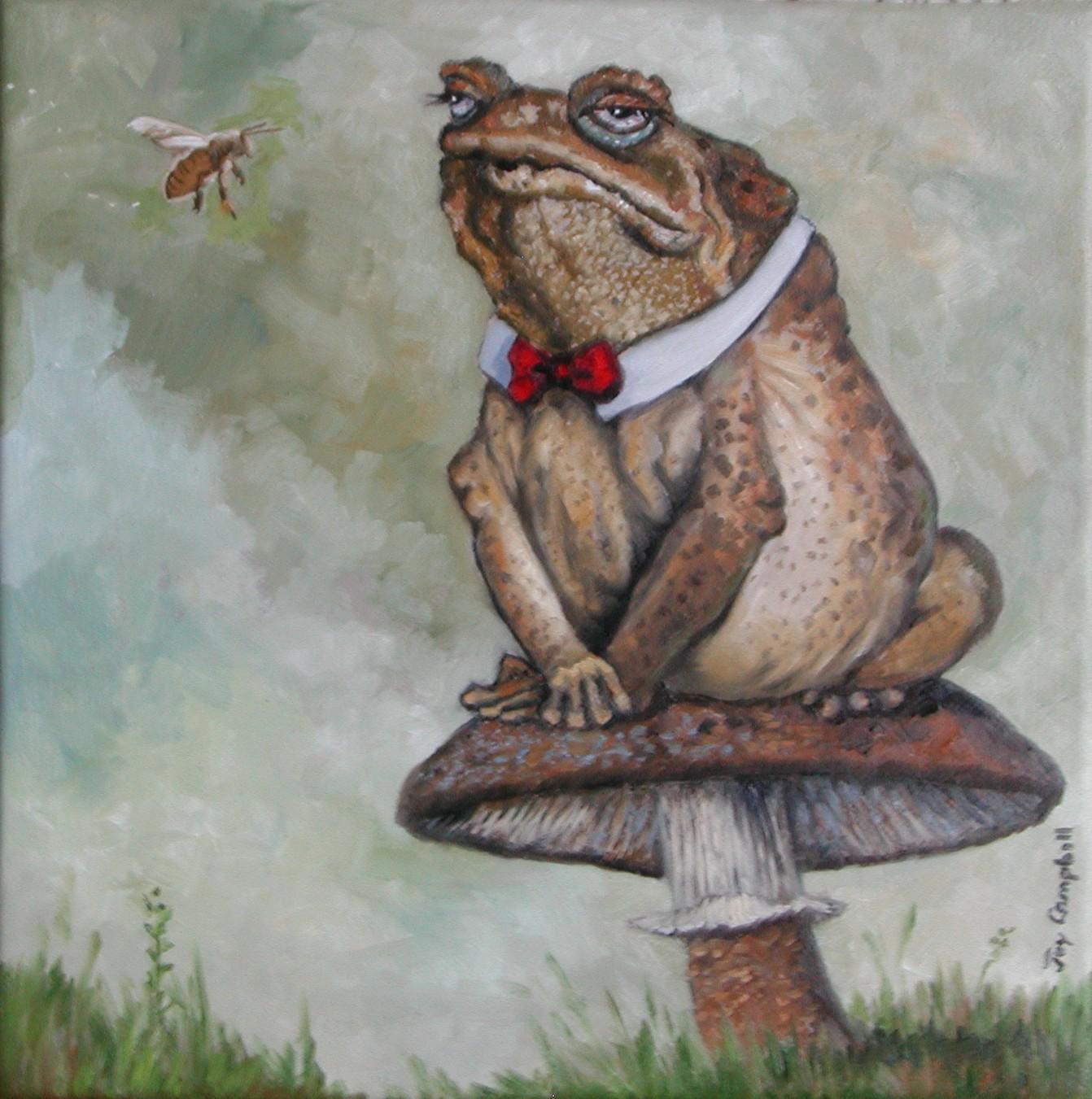 """Toady on His Stool"" original fine art by Joy Campbell"