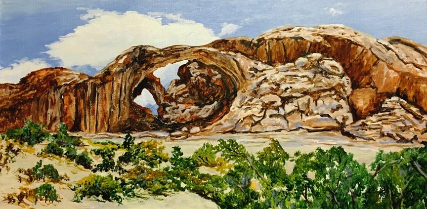 """Twin Arches"" original fine art by Nan Johnson"