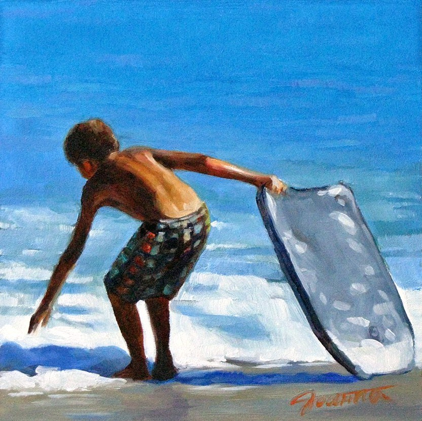 """Boy With His Boogie Board"" original fine art by Joanna Bingham"