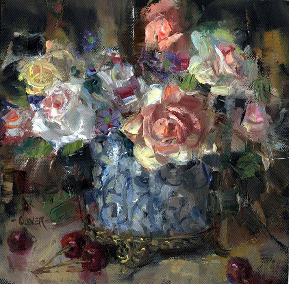 """Roses and Cherries..."" original fine art by Julie Ford Oliver"