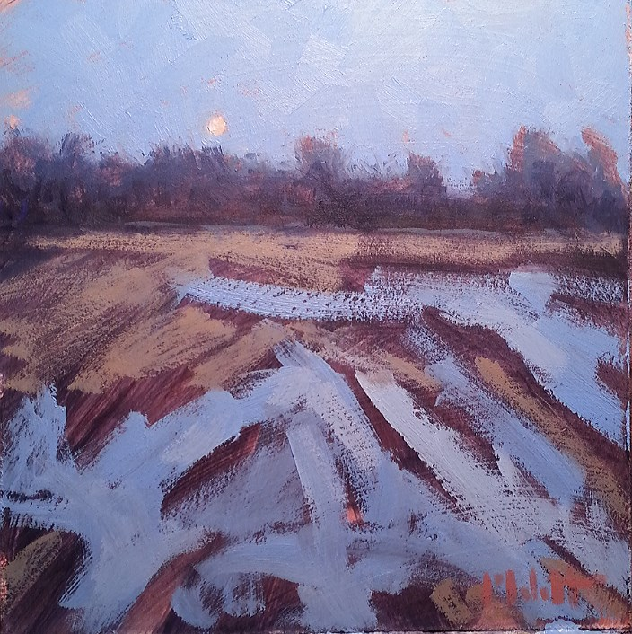 """Cold Moon Contemporary Impressionism Winter Landscape Original Oil"" original fine art by Heidi Malott"