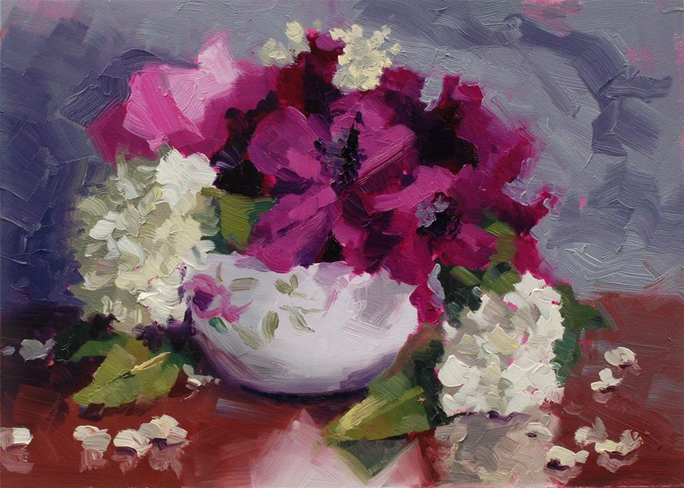 """Teacup Bouquet 3"" original fine art by Susan McManamen"
