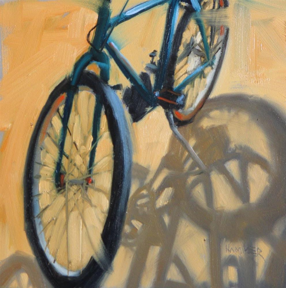 """My Bicycle  6x6 in  oil"" original fine art by Claudia Hammer"
