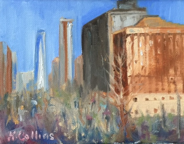 """View From Battery Park"" original fine art by Kathy Collins"