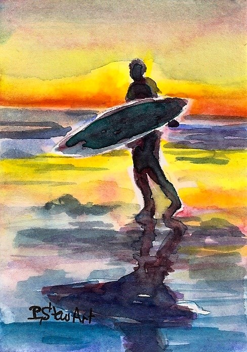 """ACEO Surfer Dude Sunset Carrying Surfboard Reflections Seascape Penny StewArt"" original fine art by Penny Lee StewArt"