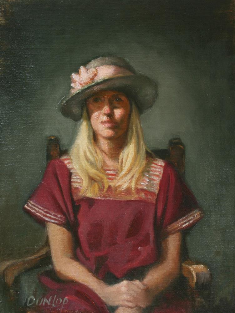 """Lady in a Hat"" original fine art by Bobbi Dunlop"
