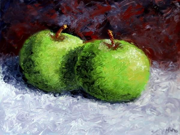 """Mark Adam Webster - Green Apples Still Life Palette Knife Oil Painting"" original fine art by Mark Webster"