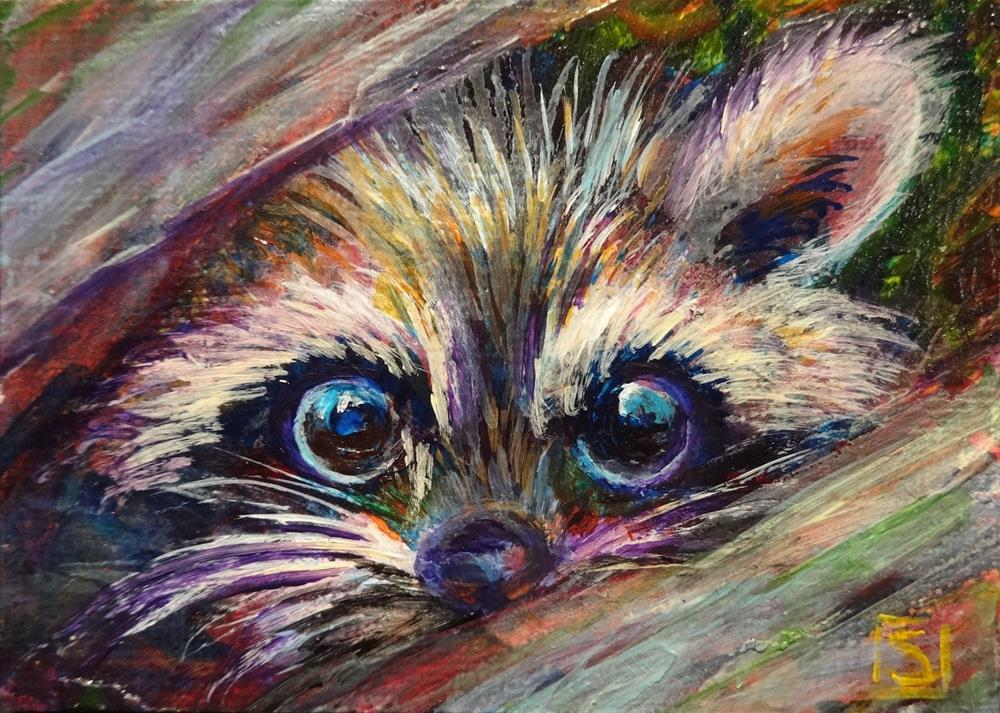 """5051 - RANDY THE RACCOON ACEO Series"" original fine art by Sea Dean"