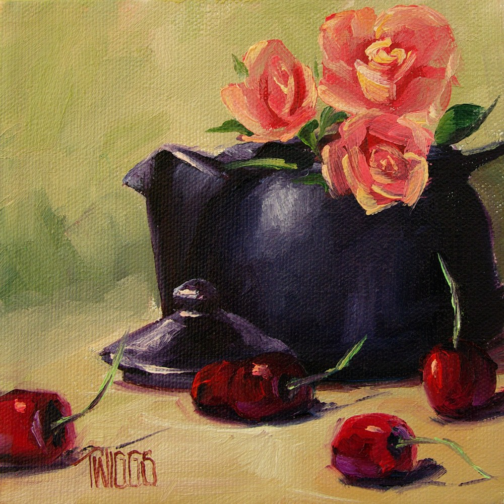 """Rose Tea"" original fine art by Lori Twiggs"