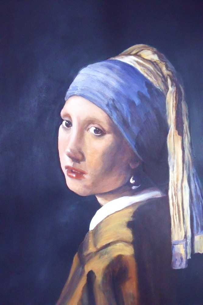 """""""Girl With A Pearl Earring"""" original fine art by Nelvia  McGrath"""