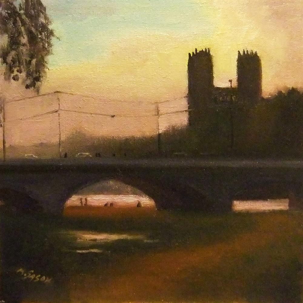 """Dusk - in the City"" original fine art by Michael Sason"