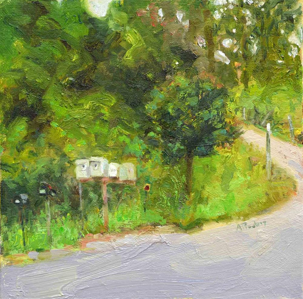 """Mailboxes Behind Benbow"" original fine art by alicia tredway"
