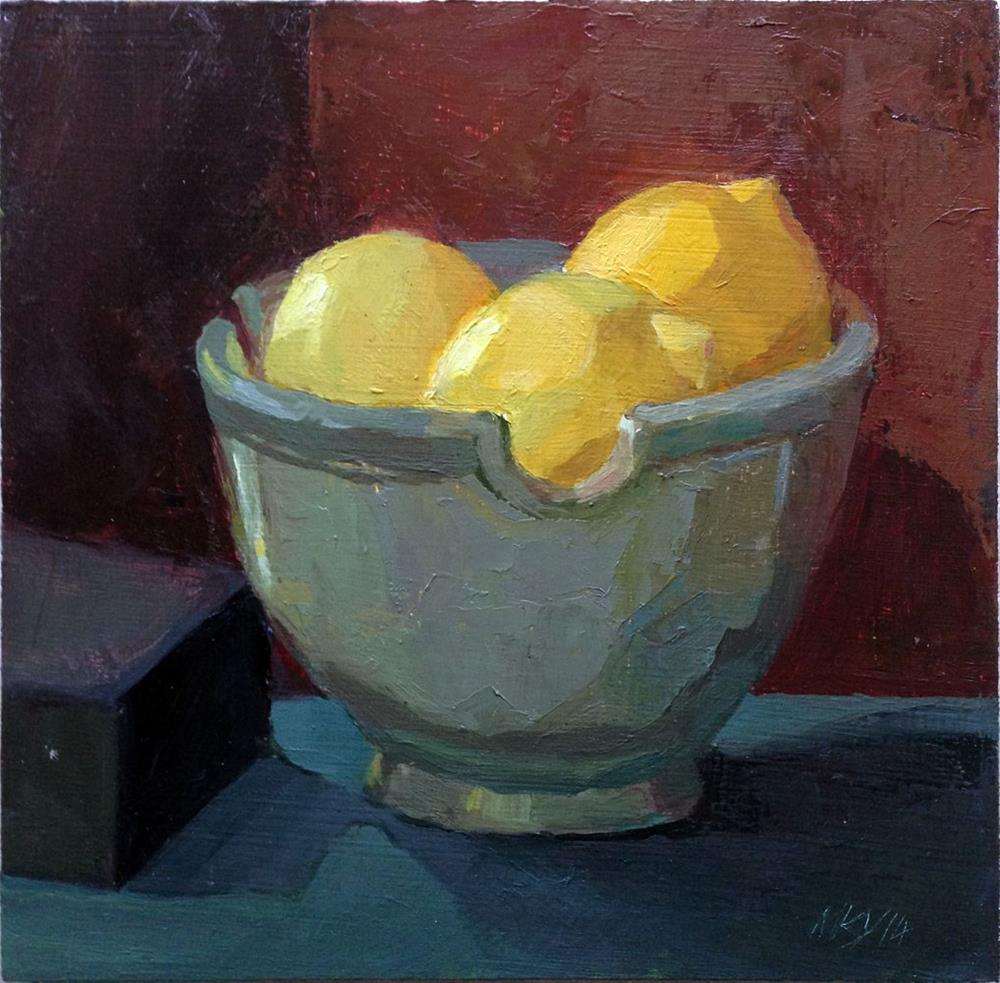 """Lemons in Noodle Bowl"" original fine art by Myriam Kin-Yee"