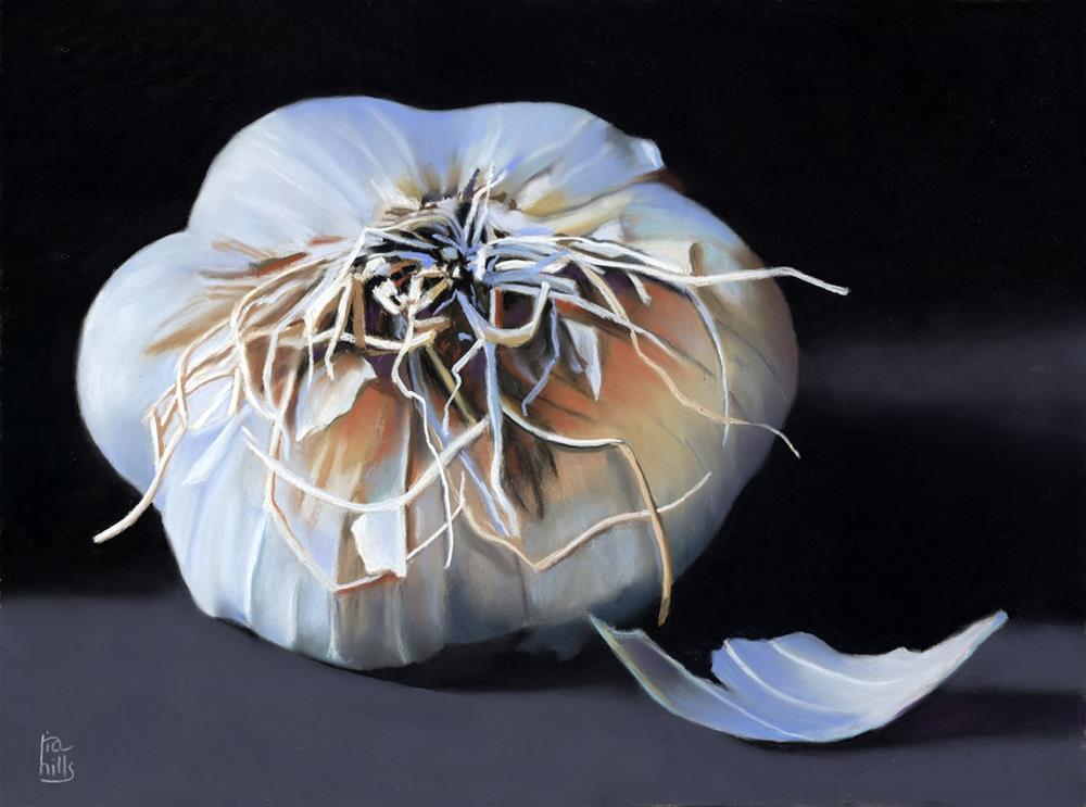 """Garlic Bulb pastel painting"" original fine art by Ria Hills"