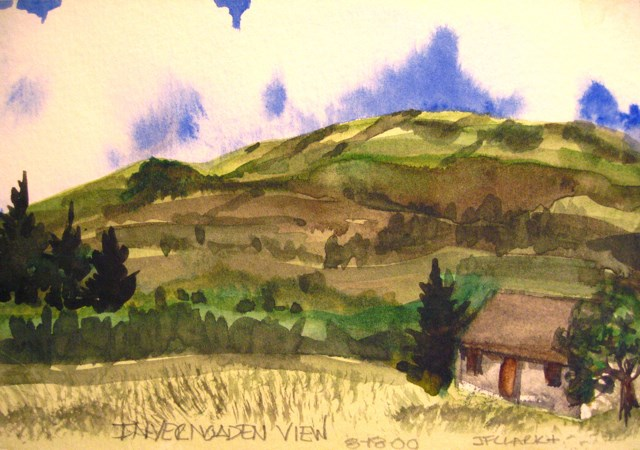 """Invernoaden, Strachur, postcard"" original fine art by Judith Freeman Clark"