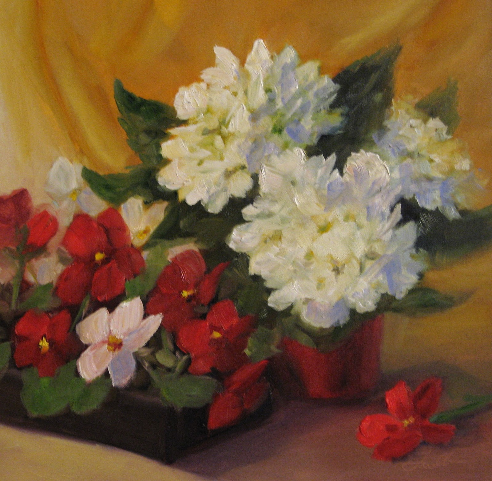 """White Hydrangeas and Red Pansies"" original fine art by Pat Fiorello"