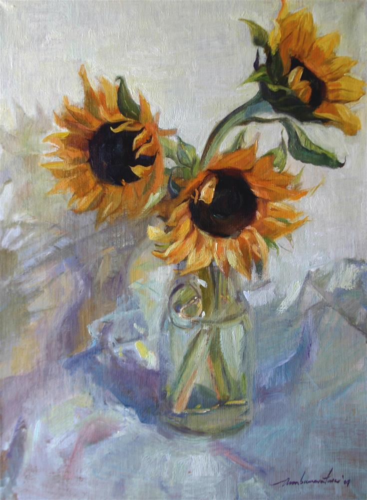 """The Sunflower Trio"" original fine art by Ann Buenaventura"