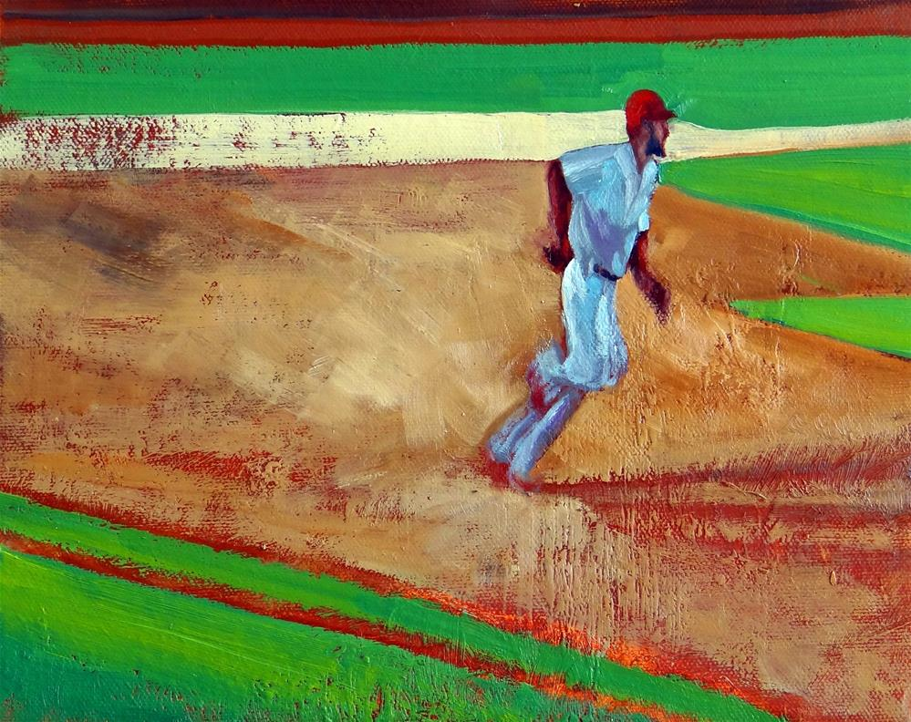 """Base Hit!"" original fine art by Nancy Paris Pruden"