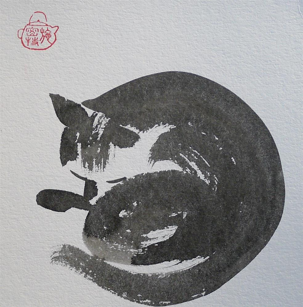 """Cat - sleeping"" original fine art by Ulrike Schmidt"