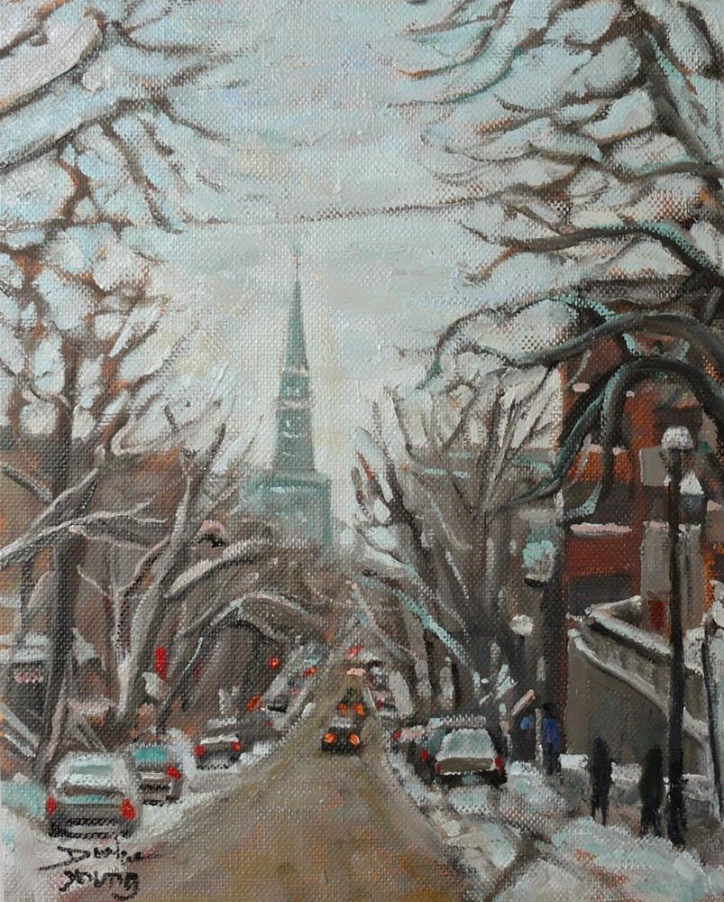 """828 Montreal Winter St-Denis Near UQAM"" original fine art by Darlene Young"