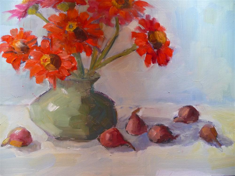 """Zinnias and Figs"" original fine art by Carol Josefiak"