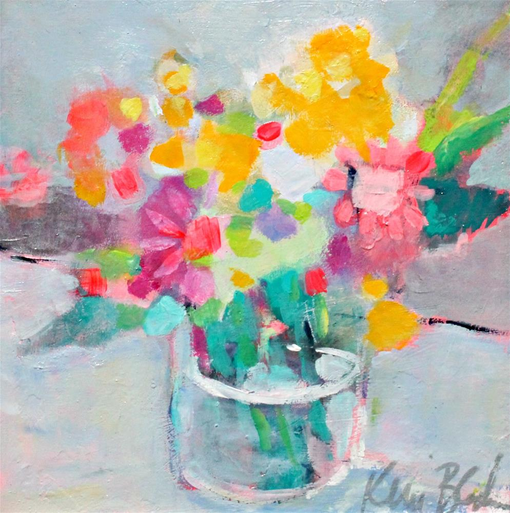 """Pink and Yellow Flowers "" original fine art by Kerri Blackman"