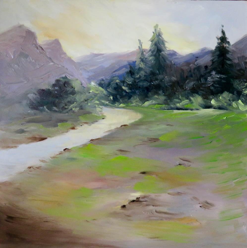 """Alpin Meadow"" original fine art by Christa Friedl"