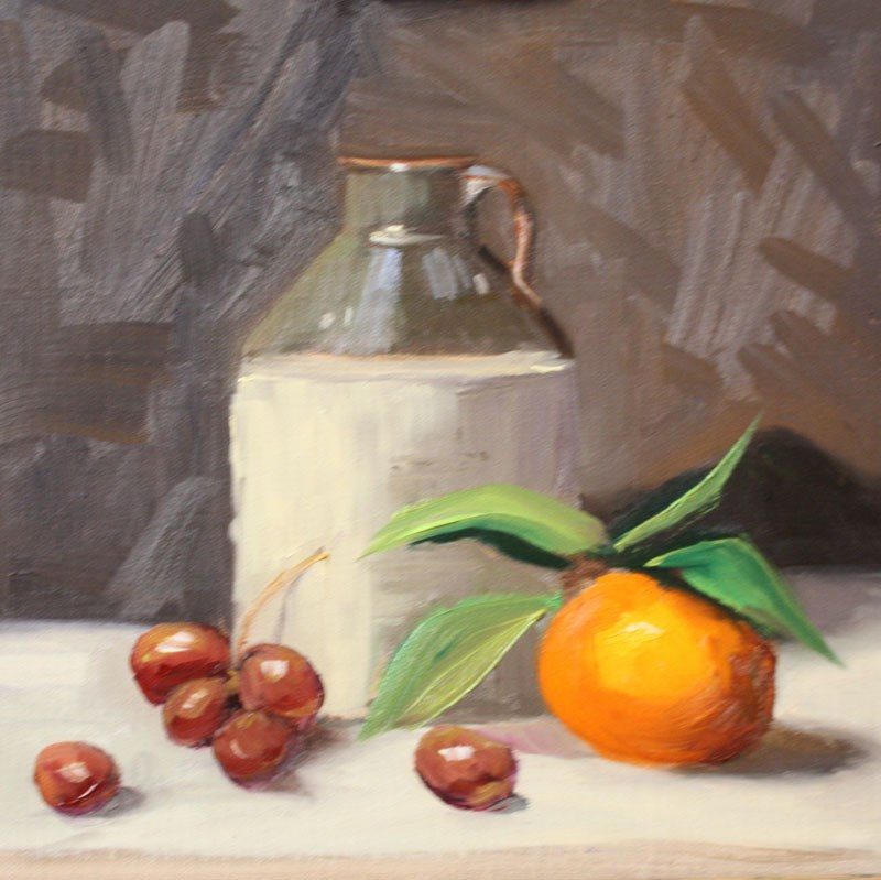 """Moonshine Jug, Orange and Grapes"" original fine art by Jane Frederick"