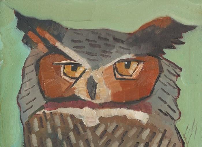 """Great Horned Owl"" original fine art by Elizabeth See"