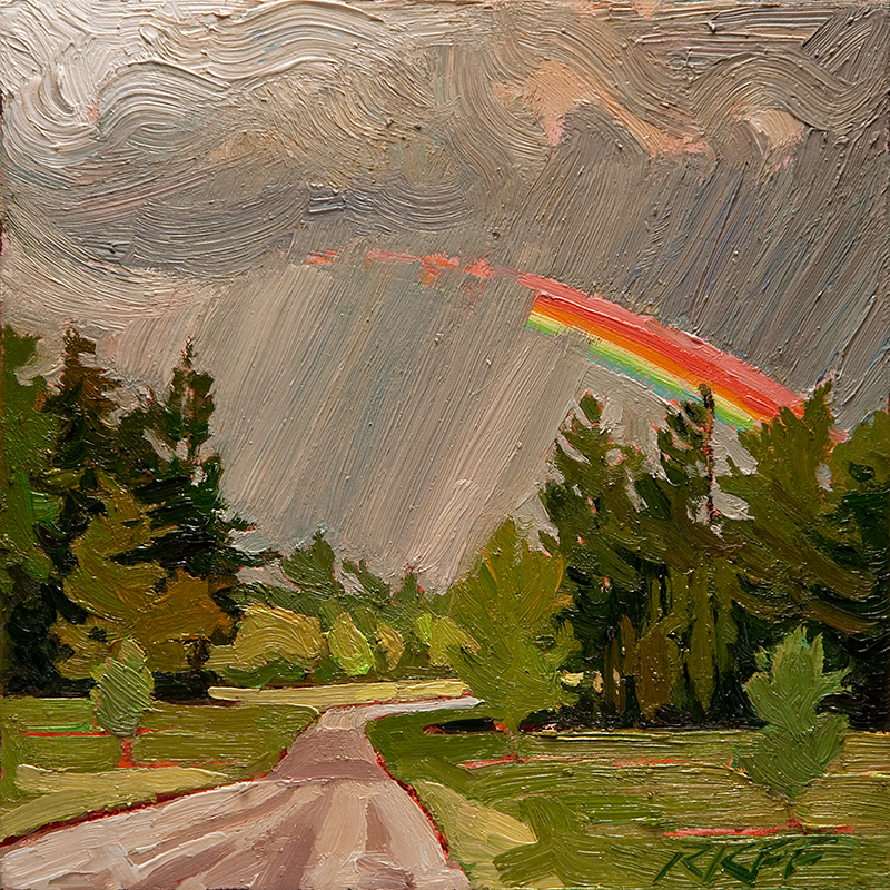 """""""The Road To Gold: 6x6 oil on panel"""" original fine art by Ken Faulks"""