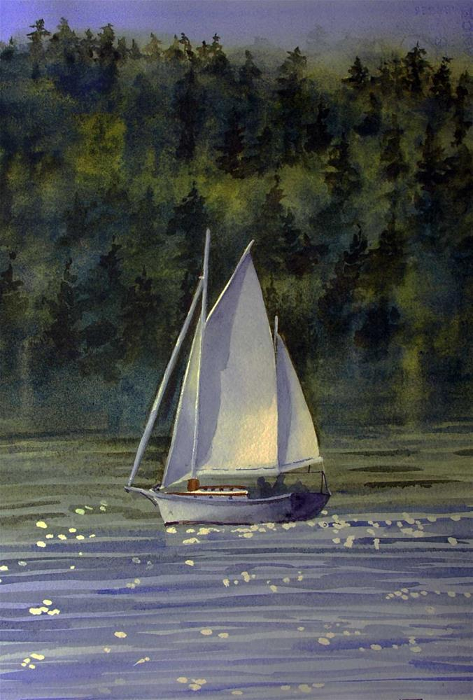 """Sailing on Port Townsend Bay"" original fine art by Mary Anderson"
