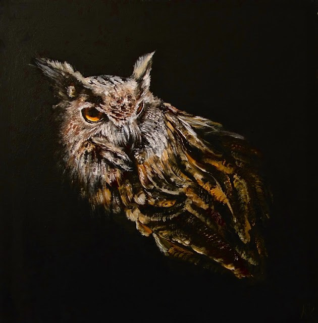 """Portrait of an owl"" original fine art by Karen Robinson"