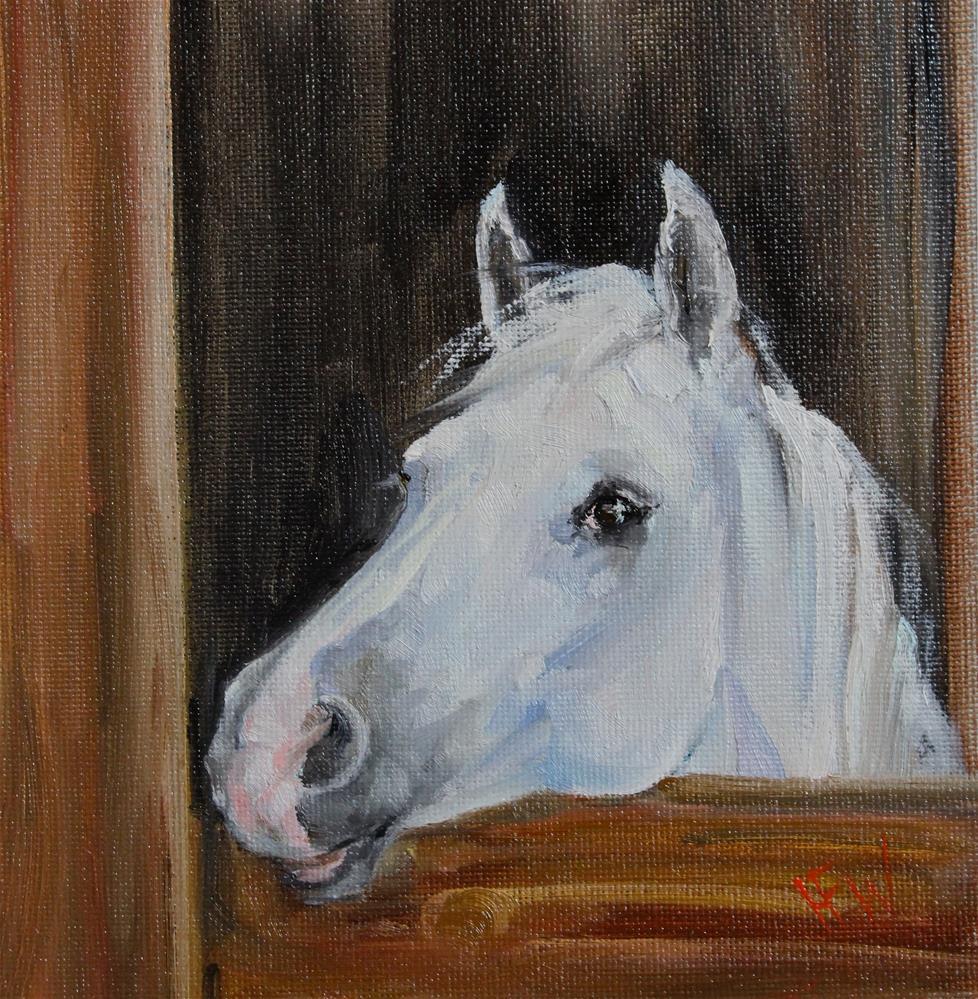"""""""Peeking over the Door"""" original fine art by H.F. Wallen"""