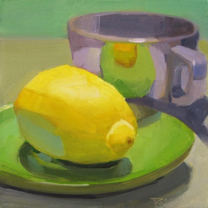 """Purple Cup and Lemon"" original fine art by Robin Rosenthal"