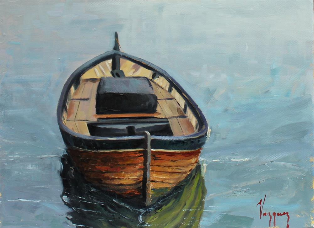 """Wooden boat "" original fine art by Marco Vazquez"