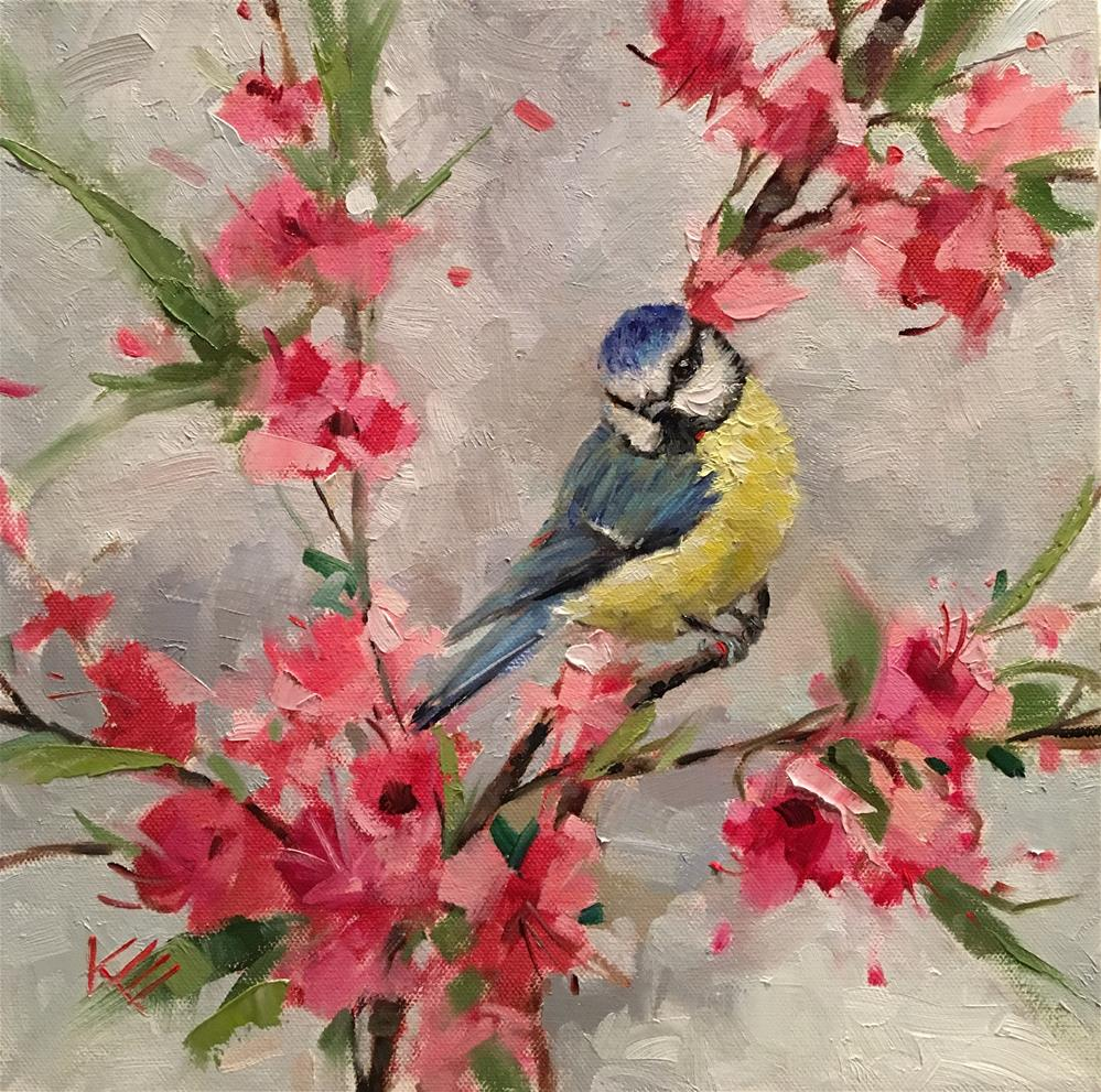 """Blue Tit & Cherry Blossoms"" original fine art by Krista Eaton"