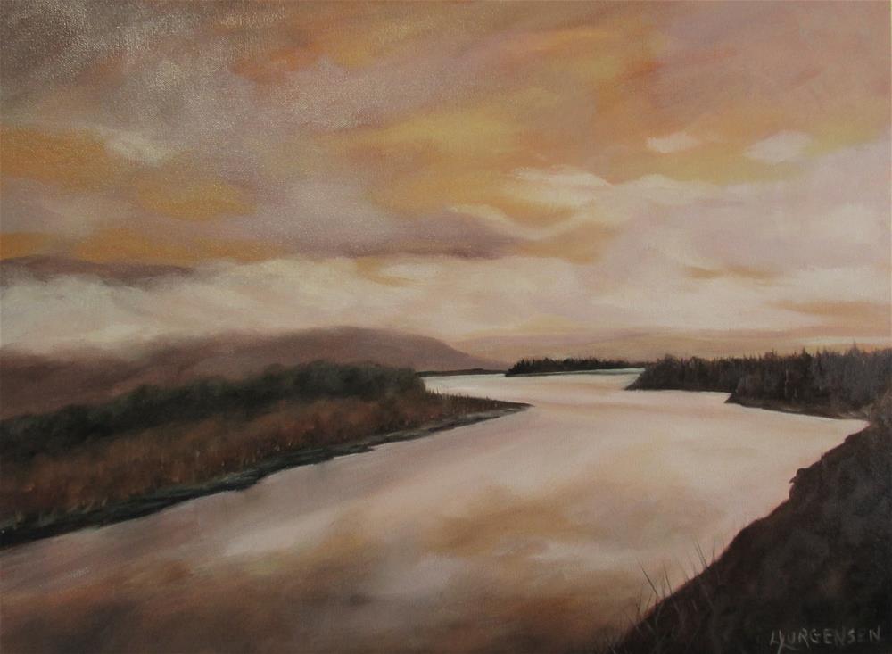 """18 x 24 inch oil Banks of the Cowichan"" original fine art by Linda Yurgensen"