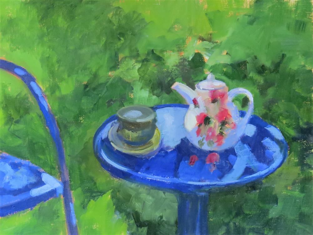 """Garden Table"" original fine art by Pam Holnback"