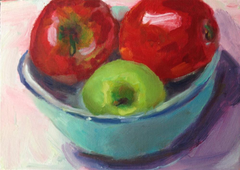 """Apple Bullies"" original fine art by Marcia Bergtholdt"