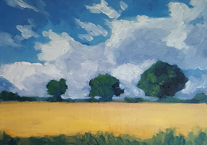 """Three Trees"" original fine art by J M Needham"
