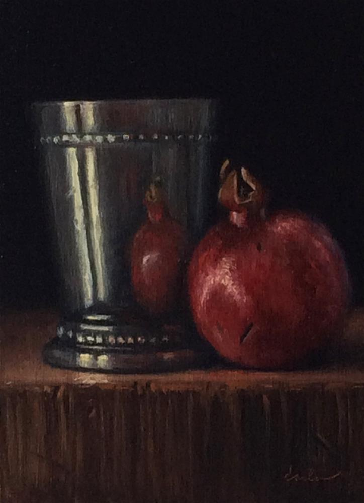 """Silver Cup with Pomegranate"" original fine art by Darla McDowell"