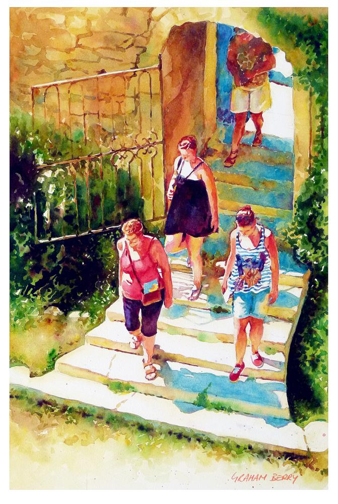 """Down the steps"" original fine art by Graham Berry"