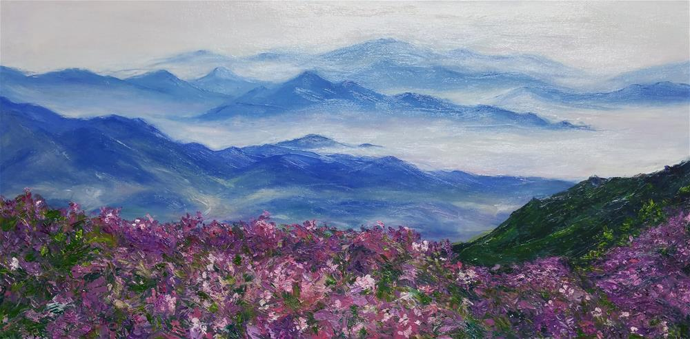 """Pink on Blue Ridge Mountain"" original fine art by Sun Sohovich"
