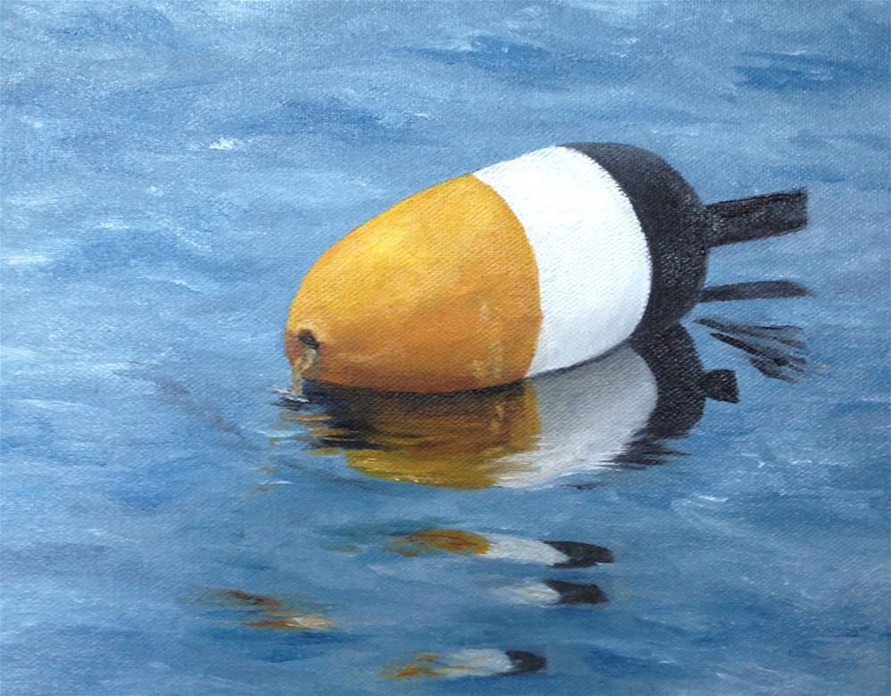 """Lobster Buoy; yellow, white and black"" original fine art by Karen Collins"