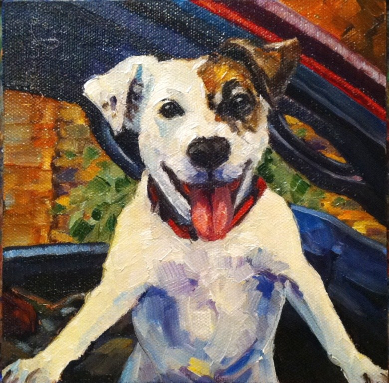 """MY DOG IS MY COPILOT"" original fine art by Kristy Tracy"