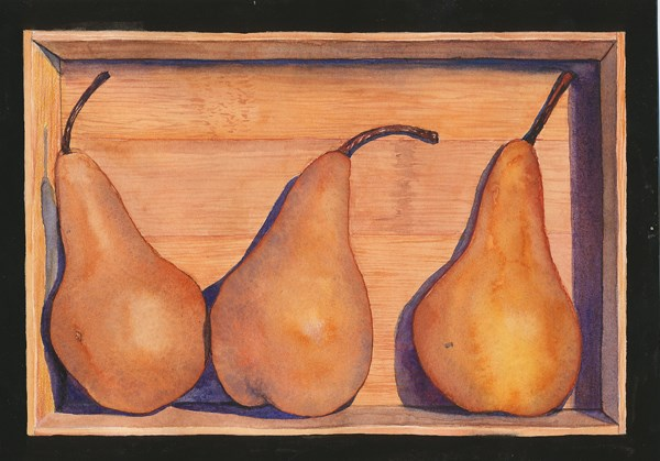 """Pears in a Bamboo Box"" original fine art by Carole Baker"